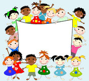 Illustration of children of different races behind a banner Stock Photos
