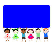 Illustration of children of different races behind a banner Stock Photo