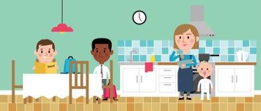 Illustration Of Children Doing Homework In Kitchen stock illustration