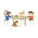 Illustration of children eating on a white vector illustration