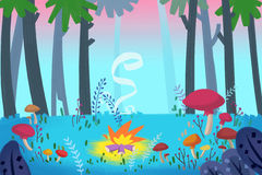 Illustration For Children: Forest Campfire. Realistic Fantastic Cartoon Style Artwork / Story / Scene / Wallpaper / Background / Card Design Royalty Free Stock Image