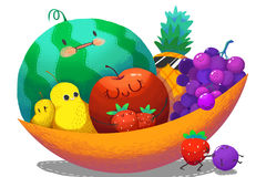 Illustration For Children: The Fruit Family in the Big Fruit Bowl. Royalty Free Stock Photo