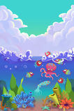 Illustration for Children: The Fun of Marine Life in the Sea. Royalty Free Stock Photography