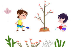 Illustration For Children: The Girl and Boy is Planting Tree in Arbor Day. Stock Photos