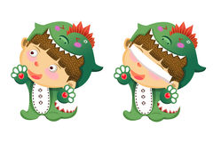 Illustration For Children: The Green Dragon Skin Boy. Royalty Free Stock Photography