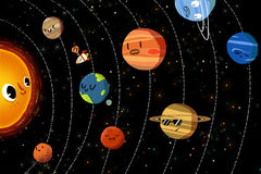 Illustration for Children: The Happy Planets in Solar System. Realistic Fantastic Cartoon Style Artwork / Story / Scene / Wallpaper / Background / Card Design vector illustration