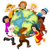Children holding hands around the world. Illustration of Children holding hands around the world Stock Image
