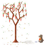 Illustration for Children: The Hungry Rabbits Can't Wait to Eat The Carrots Grow on the Tree. Stock Photos