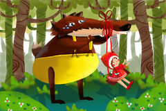 Illustration for Children: The Innocent Big Wolf Falls for the Joke of Little Smart Girl with Red Cloak. Realistic Fantastic Cartoon Style Story / Scene / Royalty Free Stock Photos
