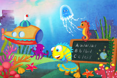 Illustration for Children: Let's start our lesson! The Little Fish first Becomes a Teacher in the Sea School. Realistic Fantastic Cartoon Style Story Stock Images