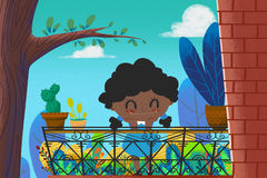 Illustration for Children: The Little Brown Girl with Black Curly hair in her Little Garden of Balcony. Stock Photography