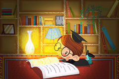 Illustration For Children: The Little Doctor is Reading and Thinking in the Study at Night. Stock Photography