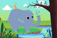 Illustration for Children: Little Elephant is Washing and Little Bird is Singing!. Happy Friends at Riversides. Realistic Fantastic Cartoon Style Story stock illustration