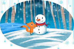 Illustration for Children: Little Fox and Snow Man. Realistic Fantastic Cartoon Style Artwork / Story / Scene / Wallpaper / Background / Card Design Royalty Free Stock Photos