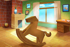Illustration For Children: Little kids' Room with a Wooden Horse Rocking Chair. Realistic Fantastic Cartoon Style Artwork / Story / Scene / Wallpaper / Royalty Free Stock Photo