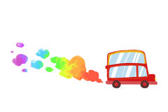 Illustration for Children: Little Red Car with Rainbow Smoke. Royalty Free Stock Image