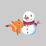 Illustration for Children: The Little Snow Man and Little Fox isolated. Realistic Fantastic Cartoon Style Artwork / Story / Scene / Wallpaper / Background / Stock Image