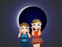 Children look at eclipse with 3d sunglasses. Illustration of children look at eclipse with 3d sunglasses Stock Image