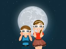 Children look at eclipse with 3d sunglasses. Illustration of children look at eclipse with 3d sunglasses Stock Images