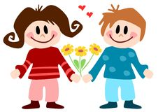 Illustration: children in love Royalty Free Stock Image