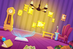Illustration for Children: The Magic Room at Night. Royalty Free Stock Photos