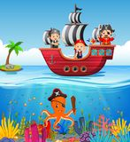 Children on pirate ship and ocean scene. Illustration of Children on pirate ship and ocean scene Stock Photos