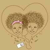 Illustration of children with player Royalty Free Stock Photography