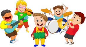 Illustration of children playing music instrument Stock Photo