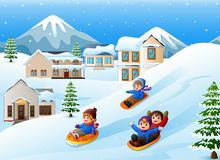 Children playing sledding in the snow. Illustration of Children playing sledding in the snow Royalty Free Stock Photography