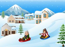 Children playing sledding in the snow. Illustration of Children playing sledding in the snow Stock Photo