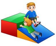 Children playing slide in playground. Illustration of Children playing slide in playground Stock Photos