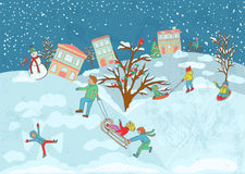 Illustration of a children playing in a snow with a a sled. father playing with children, with a snowman and winter birds Stock Photography