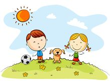Children playing soccer with a dog in the park royalty free illustration