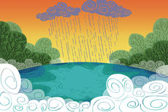 Illustration for Children: It Rains above a Lake inside the Forest! Stock Images