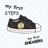 Illustration of children`s cute sneakers without shoelace classic design with embroidery and inscription. Children`s cute sneakers without shoelace classic Stock Images