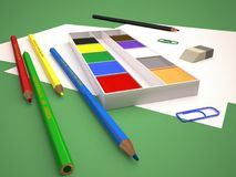 Illustration of children`s stationery with pencils and paints. 3D render. Illustration of children`s stationery with pencils and paints. 3D rendering. Color Royalty Free Stock Photography