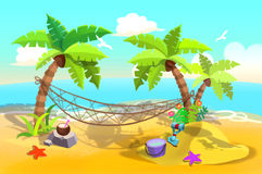 Illustration For Children: Sand Beach Hammock between Palm Trees. Stock Photo