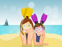 Children with scuba mask and fins. Illustration of children with scuba mask and fins Stock Photo