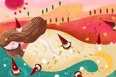 Illustration for Children: The Sea's Daughter and Seven Little Dwarfs. vector illustration