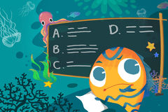 Illustration for Children: In the Sea School, The Little Fish is Thinking How to do this Homework. Royalty Free Stock Photography