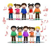 Children singing together on isolated. Illustration of children singing together on isolated white background Royalty Free Stock Image
