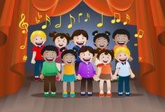 Children singing together. Illustration of children singing together on stage background Royalty Free Stock Image
