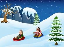 Children sledding in snow downhill. Illustration of Children sledding in snow downhill Stock Image