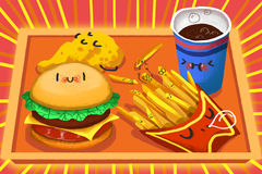 Illustration for Children: Sleeping Food Wait You to Eat. Royalty Free Stock Photos