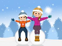 Children on snowball. Illustration of children on snowball in winter Royalty Free Stock Images