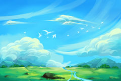 Illustration For Children: The Super Clear Blue Sky. Realistic Fantastic Cartoon Style Artwork / Story / Scene / Wallpaper / Background / Card Design stock illustration