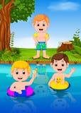Children swimming in the river. Illustration of Children swimming in the river vector illustration