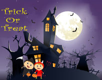 Illustration of children trick or treating in Halloween costume Royalty Free Stock Images