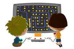 Illustration for Children: Two Little Friends are Playing Game Together, isolated on white background. Realistic Fantastic Cartoon Style Artwork Scene vector illustration