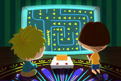 Illustration for Children: Two Little Friends are Playing Game Together. Realistic Fantastic Cartoon Style Artwork Scene, Wallpaper, Story Background, Card Stock Photos